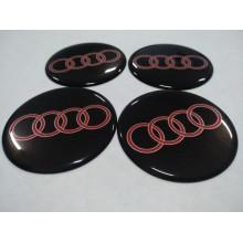 Наклейка на диск AUDI черно-красная 65мм