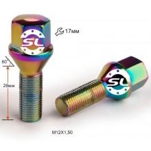 Болты 12x1,25 Конус L28 Радужный Хром 17 ключ
