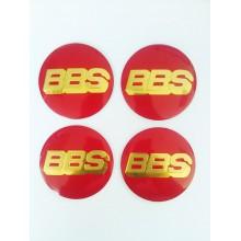 Наклейка на диск BBS D56 алюминий (Золотой логотип на красном фоне)